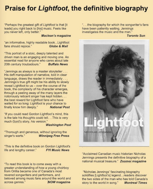 Praise for Lightfoot, the definitive biography